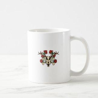Deer head with rose climbing skull deer coffee mug