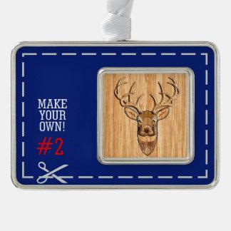 Deer Head Wood Grain Style Ornament