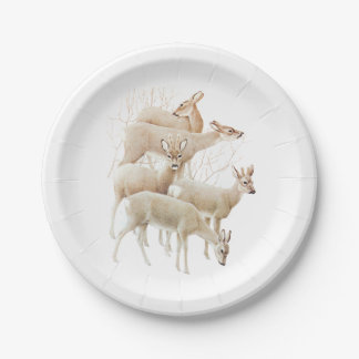 Deer Herd In Snow, Vintage Illustration Paper Plate