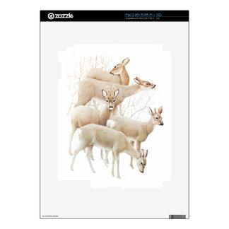Deer Herd In Snow, Vintage Illustration iPad 2 Decals
