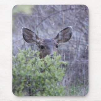 Deer hiding in bushes mousepad