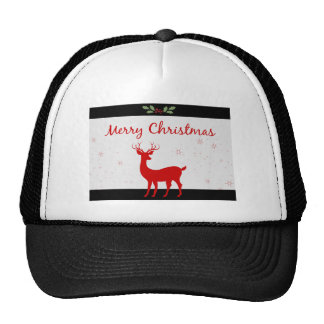 Deer Holly Snow  Scene Merry Christmas Trucker Hat