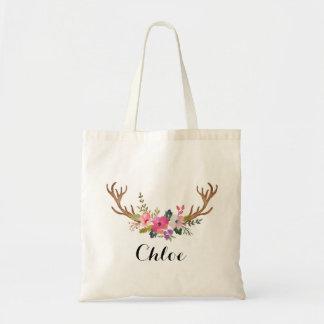 deer horn Floral bridesmaid Personalized Tote Bag