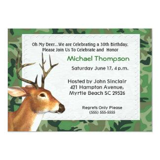 """Deer Hunter  Birthday Invitation 5"""" X 7"""" Invitation Card"""