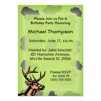 "Deer Hunter Camouflage Birthday Invitation 5"" X 7"" Invitation Card"