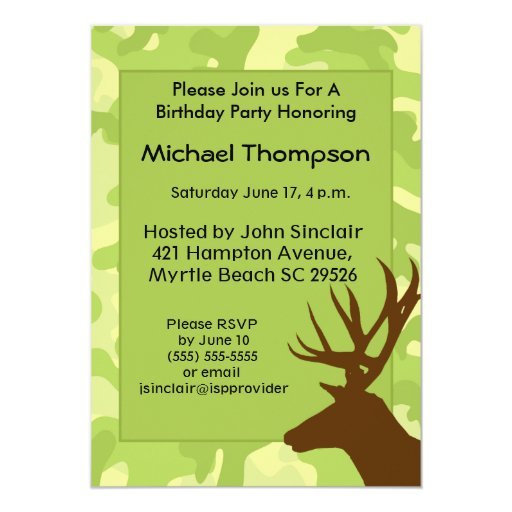 Deer Hunter Camouflage Birthday Invitation