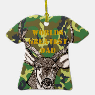 Deer Hunter Dad Double-Sided T-Shirt Ceramic Christmas Ornament