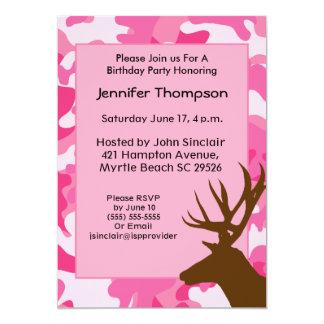 "Deer Hunter Pink Camouflage Birthday Invitation 5"" X 7"" Invitation Card"