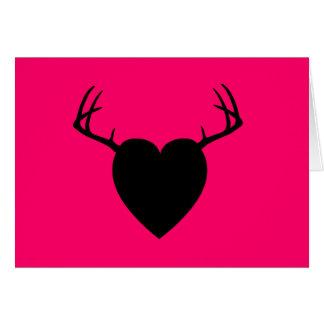 Deer Hunting Antlers heart Card