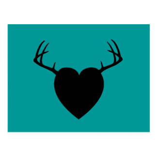 Deer Hunting Antlers heart Postcard