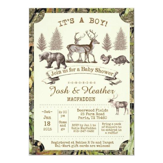 Lovely Deer Hunting Baby Shower Invitation
