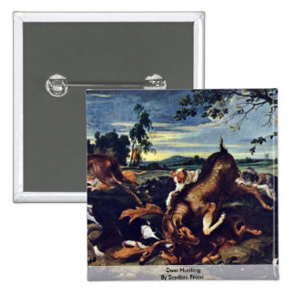Deer Hunting By Snyders Frans 2 Inch Square Button