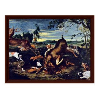 Deer Hunting By Snyders Frans Postcard
