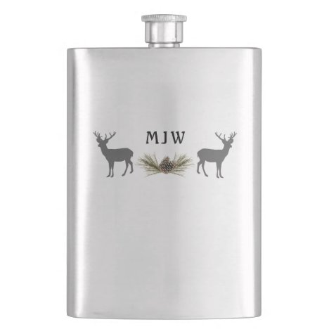 Deer Hunting Cabin Classic Flask