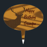 "Deer hunting cake topper<br><div class=""desc"">Deer silhouette on a wood grain background,  perfect for hunter or wildlife lovers. easily personalise this design by adding your own text. click the Customise button to adjust text size/color/font/position. Visit the CUSTOMIZEDGIFTS store for matching products and more hunting,  fishing,  and wildlife gifts.</div>"