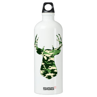 Deer Hunting Camo Buck Aluminum Water Bottle