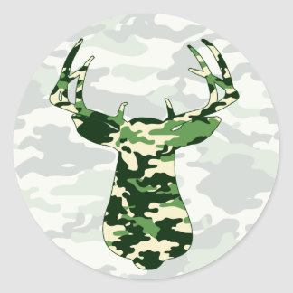 Deer Hunting Camo Buck Classic Round Sticker