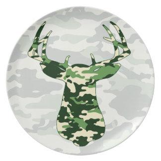 Deer Hunting Camo Buck Melamine Plate