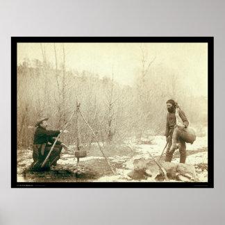 Deer Hunting in Deadwood South Dakota 1887 Print