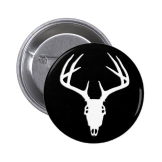Deer Hunting Skull w/ Antlers Button