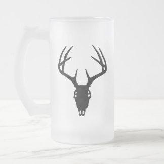 Deer Hunting Skull w/ Antlers Frosted Glass Beer Mug