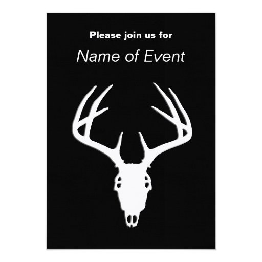 Deer Hunting Skull w/ Antlers 5x7 Paper Invitation Card