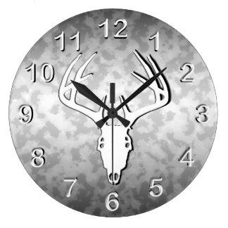 Deer Hunting Skull w/ antlers Large Clock