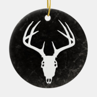 Deer Hunting Skull w/ Antlers Double-Sided Ceramic Round Christmas Ornament