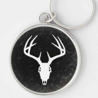 Deer Hunting Skull w/ Antlers Silver-Colored Round Keychain