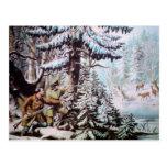 Deer Hunting Vintage Postcard