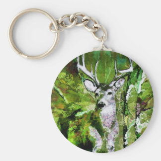 Deer in Fall Colors Basic Round Button Keychain