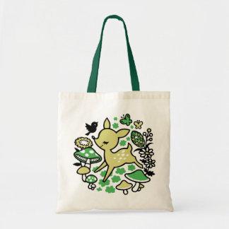 Deer in forest -green tote bag