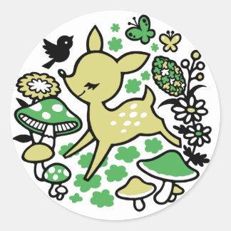 Deer in forest -green classic round sticker