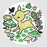 Deer in forest -green round stickers