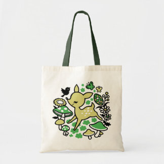 Deer in forest -green tote bag