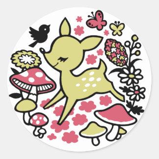 Deer in forest -pink classic round sticker