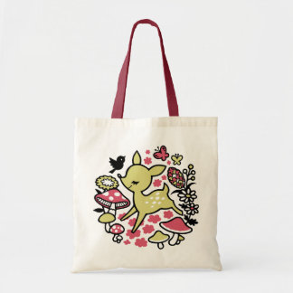 Deer in forest -pink tote bag