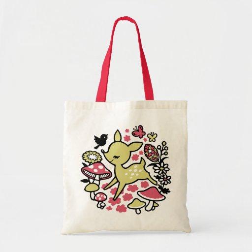 Deer in forest -pink tote bag