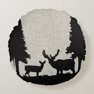 Deer in Forest Round Pillow
