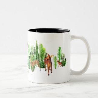 Deer in Horsetails Two-Tone Coffee Mug