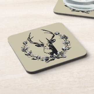 Deer in Laurel Leaves Drink Coaster