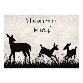 Deer in Meadow Twins Baby Shower Invitation