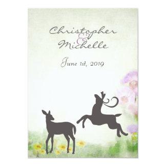 Deer in Meadow Wedding Invite, Reception & RSVP Card