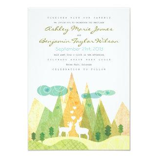 Deer in Mountain Valley Rustic Wedding Invitation