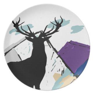 Deer in mountains dinner plate
