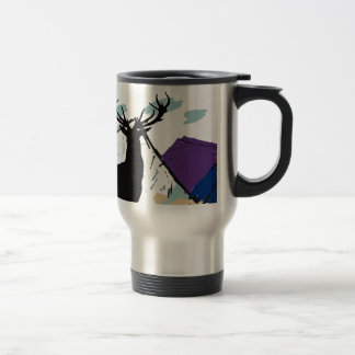 Deer in mountains travel mug