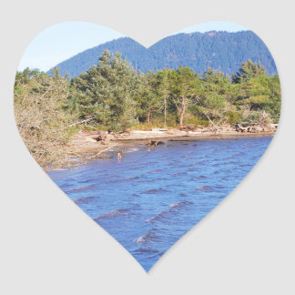 Deer in Nehalem Bay - Oregon State Park Heart Sticker