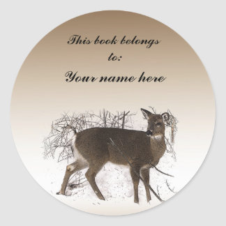 Deer  in Snow Bookplate Round Stickers