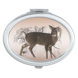 Deer in Snow Compact Mirror