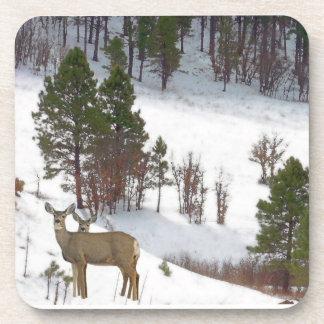 Deer in Snow Cork Coaster